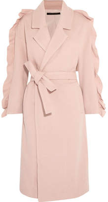 Mother of Pearl Bexley Ruffled Wool-blend Coat - Pink