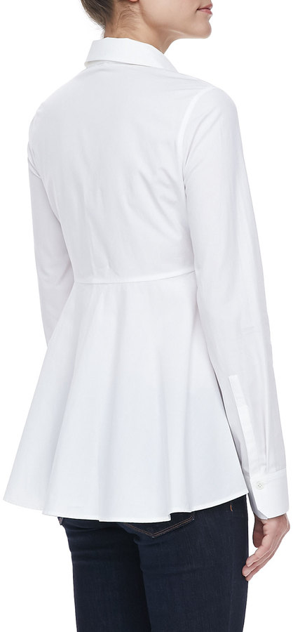 Halston Long-Sleeve Peplum Shirt