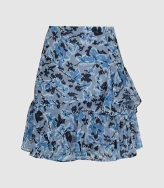 c35eb19c48 Reiss Lyon - Floral Printed Mini Skirt in Multi Blue