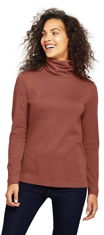 Brown Petite Shaped Supima Long Sleeves Roll Neck