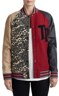 True Religion Faux Leather Wool Blend Letterman Jacket