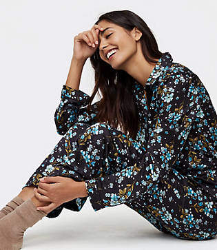 LOFT Winter Garden Silky Pajama Pants