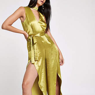 River Island RI 30 dark yellow split wide leg jumpsuit