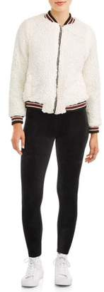 Paper Tee Juniors' All Over Sherpa Fleece Varsity Trim Bomber Jacket