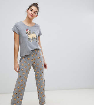 Monki xmas dog print pyjama set in gray