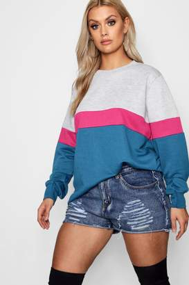 boohoo Plus Sports Stripe Colour Block Sweat Top