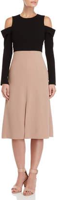 Tibi Two-Tone Cold-Shoulder Midi Dress