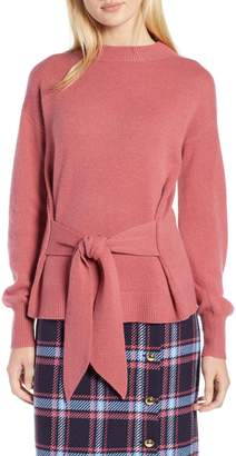 Halogen Atlantic-Pacific Wool and Cashmere Blend Tie Sweater