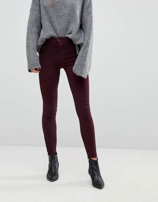 New Look Vanessa Burgundy Frayed Hem Jeans