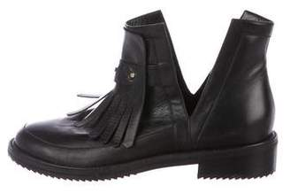 Aperlaï Leather Kiltie Ankle Boots