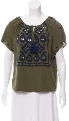 Tory Burch Silk Embellished Short Sleeve Top