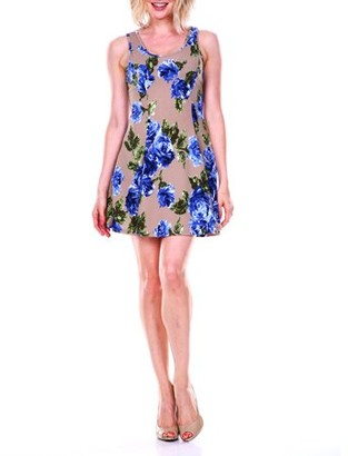 White Mark Women's Rose Printed Fit and Flare Dress