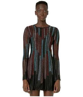 M Missoni Long Sleeve Short Dress in Broken Stripe Lurex