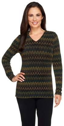 Linea By Louis Dell'olio by Louis Dell'Olio Zig Zag Patterned V Neck Top