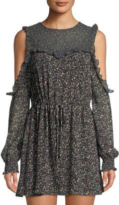 Tularosa Sabrina Cold-Shoulder Floral Chiffon Dress