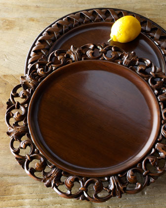 Neiman Marcus Each Woven Wood Charger Plate