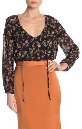 Lucca Couture Ashland Pattrened Tie Neck Blouse