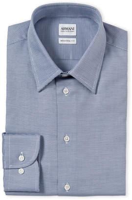 Armani Collezioni Blue & White Modern Fit Houndstooth Dress Shirt