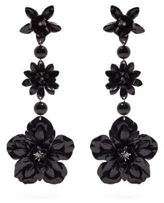 Isabel Marant Aloha Flower And Bead Embellished Earrings - Womens - Black