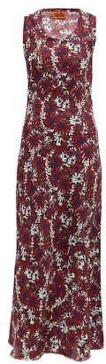 Colville - Floral Print Silk Maxi Dress - Womens - Burgundy Multi