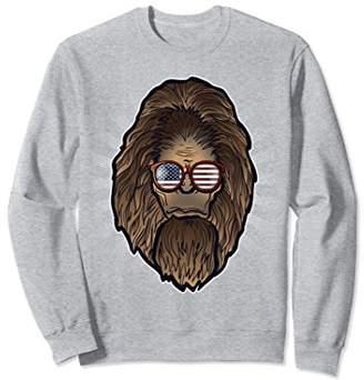 Funny Bigfoot Face America Flag Sunglasses Gift Sweatshirt