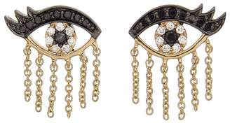 Sydney Evan Enamel and Diamond Evil Eyelash Stud Earrings