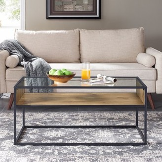 """Mainstays Atmore 40"""" Cube Coffee Table with Glass Top"""