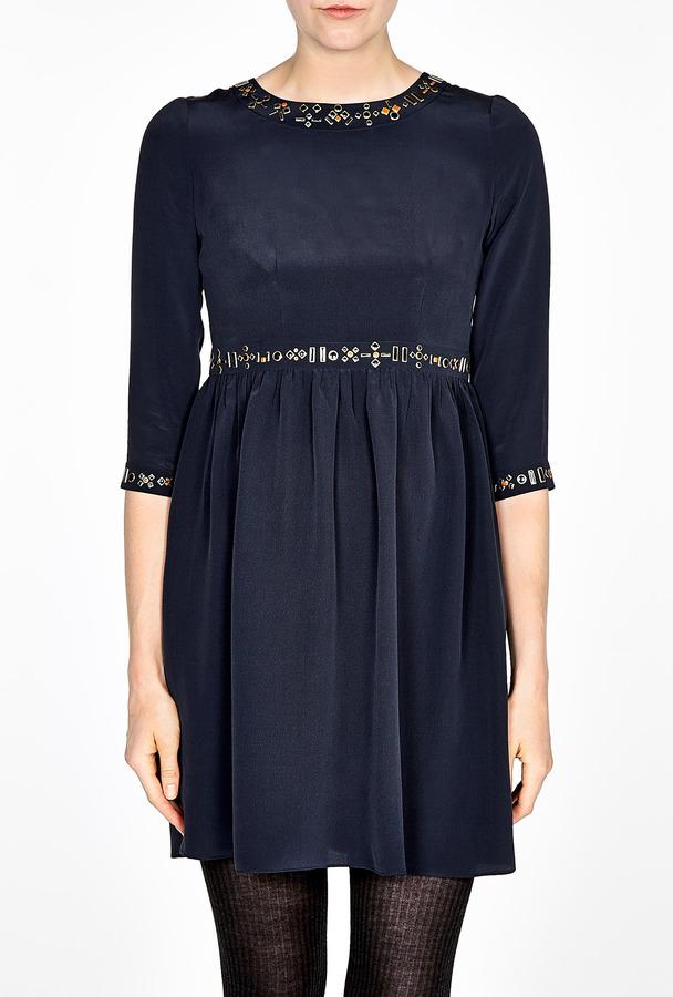 Vanessa Bruno Crepe De Chine Embellished Dress