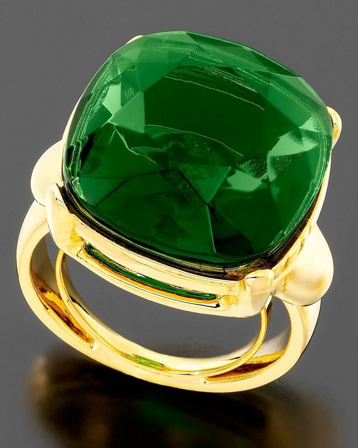 Kenneth Jay Lane Green Headlight Ring