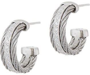 Alor Cable Stainless Steel & Diamond HoopEarrings
