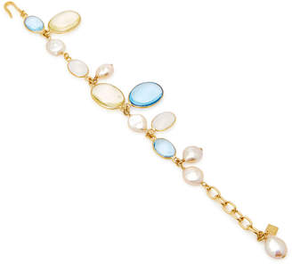 Loulou de la Falaise Pebble and Pearl 24K Gold-Plated Crystal Bracelet