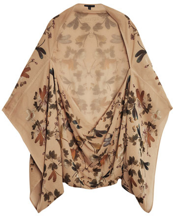 Alexander McQueen Floral and dragonfly print chiffon cape