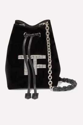 Tom Ford Mini Crystal-embellished Velvet Bucket Bag - Black