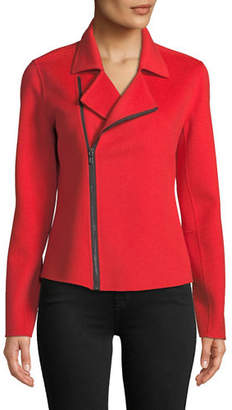 Neiman Marcus Luxury Double-Faced Cashmere Moto Jacket