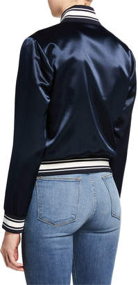 Frame Varsity Stripe Satin Bomber Jacket