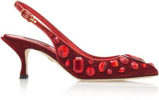 Dolce & Gabbana Crystal-Embellished Metallic Slingback Pumps