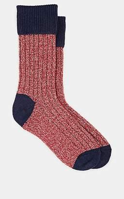 Barneys New York Men's Mélange Rib-Knit Mid-Calf Socks - Red