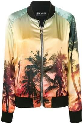 Balmain sunset print bomber jacket