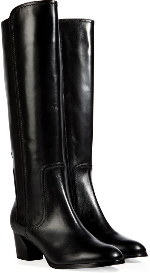 Casadei Leather Blocky Heel Boots in Sweet Black