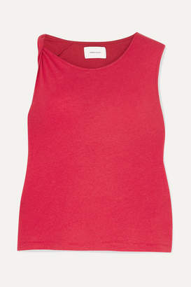 Current/Elliott The Tied Up Muscle Linen And Cotton-blend Top - Red