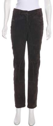 Luciano Barbera Leather High-Rise Pants
