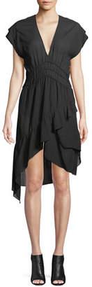IRO Foroura Deep-V Cap-Sleeve Dress