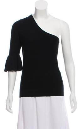 Rebecca Minkoff One-Shoulder Rib Knit-Trimmed Sweater