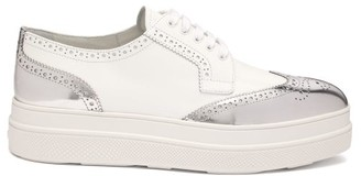Prada Metallic Leather Platform Brogues - Womens - White Silver