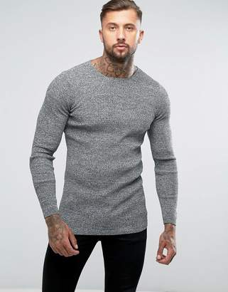 Asos DESIGN Longline Muscle Fit Ribbed Sweater