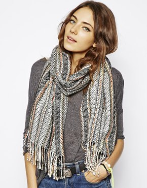 Asos Textured Scarf With Frayed Edge - Multi