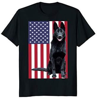 German Shepherd T-Shirt with US Flag