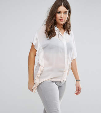 Religion Plus Ombre Ruffle Shirt With Hanky Hem