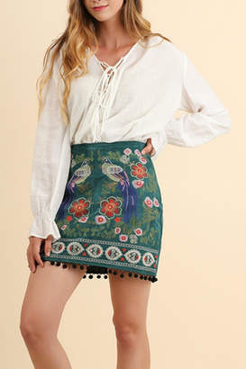 Umgee USA Suede Embroidered Skirt