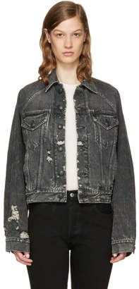 R 13 Black Denim Trucker Jacket